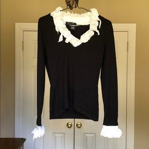 Etcetera black knit top with white trim